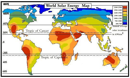Figure 2 The World Solar Energy Map showing the global solar resource ...